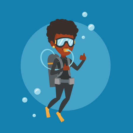 African-american woman diving with scuba and showing ok sign. Young woman in diving suit snorkeling and giving thumb up. Woman enjoying the dive. Vector flat design illustration. Square layout. Stock Illustratie
