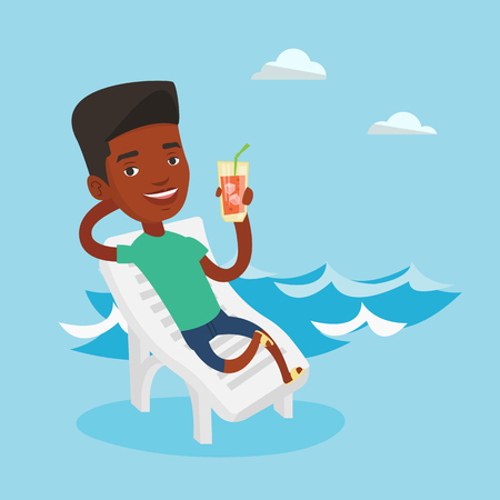 Young african-american man sitting on a beach chair. Happy smiling man drinking a cocktail on a beach chair. Joyful man on a beach chair with cocktail. Vector flat design illustration. Square layout.