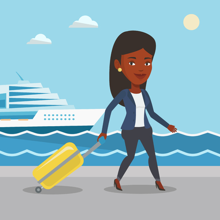 cruise liner: African-american woman is going to voyage on cruise liner. Girl walking on the background of cruise liner. Passenger of cruise liner walking on the pier. Vector flat design illustration. Square layout
