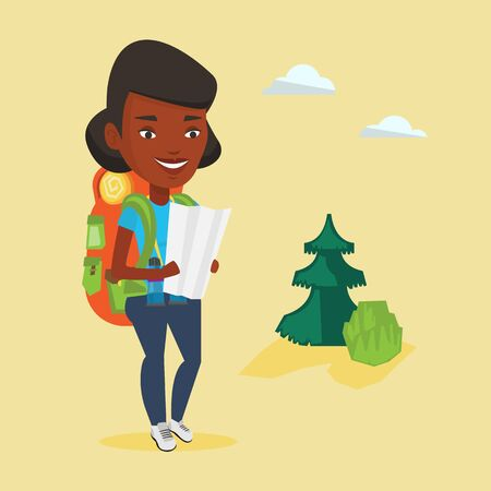 traveler: African-american traveler exploring the map. Young traveler with backpack and binoculars looking at map. Traveler searching right direction on a map. Vector flat design illustration. Square layout.