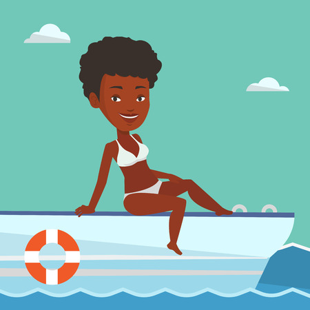 Young african-american woman travelling by yacht. Happy woman tanning on yacht during summer trip. Smiling woman sitting on the front of yacht. Vector flat design illustration. Square layout.