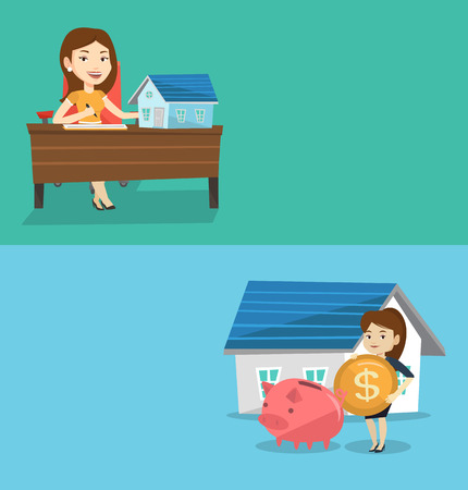 signing agent: Two real estate banners with space for text. Vector flat design. Horizontal layout. Real estate agent signing home purchase contract. Real estate agent sitting at workplace with home purchase contract Illustration