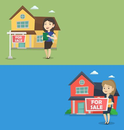 condo: Two real estate banners with space for text. Vector flat design. Horizontal layout. Caucasian woman offering a house. Woman with placard for sale and documents standing on the background of house.