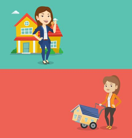 Two real estate banners with space for text. Vector flat design. Horizontal layout. Happy caucasian woman pushing a shopping trolley with a house. Woman using shopping trolley to transport a house.