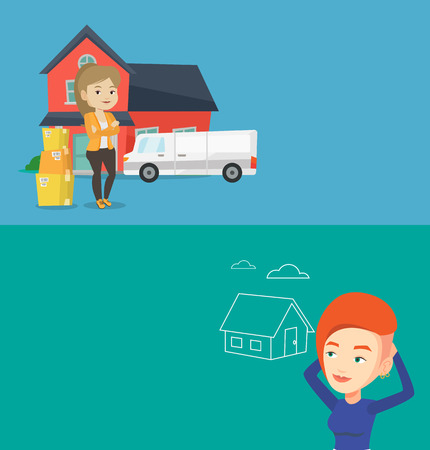 Two real estate banners with space for text. Vector flat design. Horizontal layout. New homeowner standing in front of home. Caucasian woman moving to a new house. Homeowner unpacking removal truck. Illustration