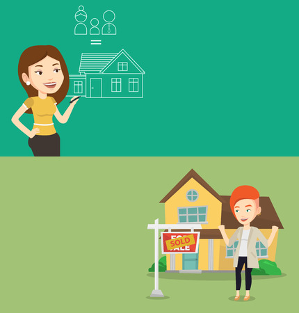 Two real estate banners with space for text. Vector flat design. Horizontal layout. Woman drawing family house. Woman drawing a house with a family. Woman dreaming about future life in a family house. Illustration