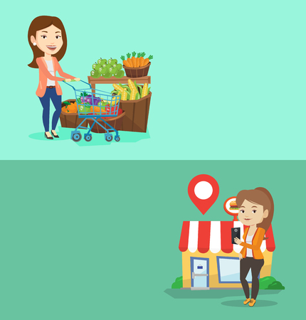 Two shopping banners with space for text. Vector flat design. Horizontal layout. Caucasian woman pushing a supermarket trolley with some products in it. Customer shopping at supermarket with trolley.
