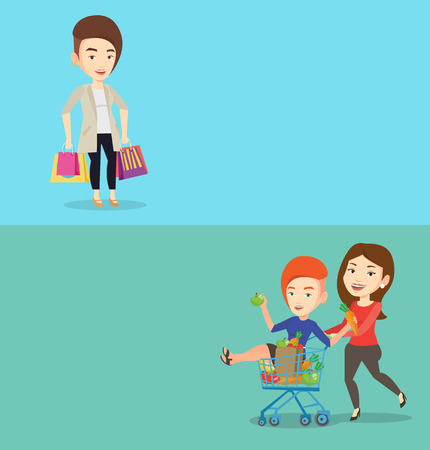 Two shopping banners with space for text. Vector flat design. Horizontal layout. Happy caucasian woman carrying shopping bags. Woman holding shopping bags. Woman standing with a lot of shopping bags. Illustration