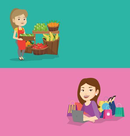 Dos pancartas de compras con espacio para texto. Vector diseño plano. Diseño horizontal Trabajador de la tienda de comestibles que se coloca delante de la sección con las frutas. Trabajador de la tienda de comestibles que sostiene una caja con las manzanas. Vectores