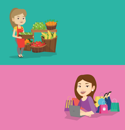 mujer en el supermercado: Two shopping banners with space for text. Vector flat design. Horizontal layout. Worker of grocery store standing in front of section with fruits. Worker of grocery store holding a box with apples. Vectores