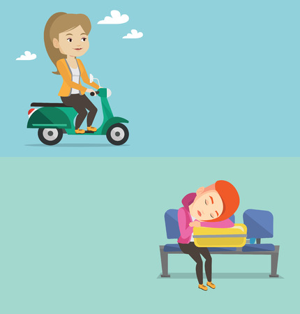 space station: Two transportation banners with space for text. Vector flat design. Horizontal layout. Caucasian woman sleeping on luggage in airport. Woman waiting for a flight and sleeping on suitcase in airport.