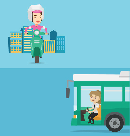 drivers seat: Two transportation banners with space for text. Vector flat design. Horizontal layout. Bus driver sitting at steering wheel. Driver driving passenger bus. Bus driver sitting in drivers seat in cab.