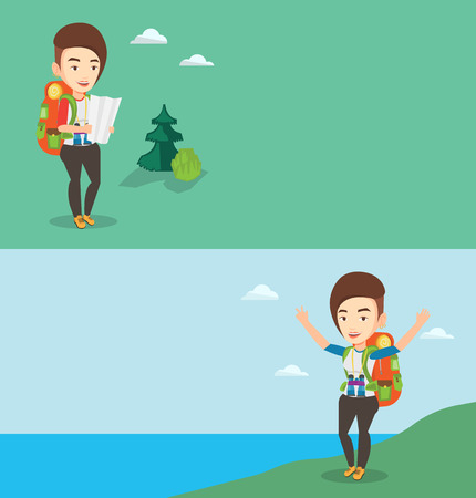 Two travel banners with space for text. Vector flat design. Horizontal layout. Caucasian traveler exploring the map. Traveler with backpack looking at map. Traveler searching right direction on a map.