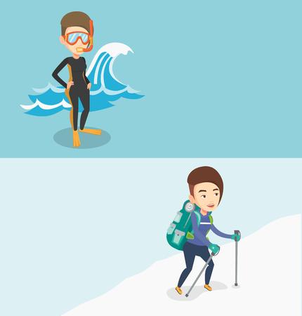 flippers: Dos banderas del recorrido con el espacio para el texto. Vector de diseño plano. Disposición horizontal. Montañero que sube una cresta nevosa. Montañero escalando una montaña. Mountaineer con la mochila que recorre a lo largo de un canto.