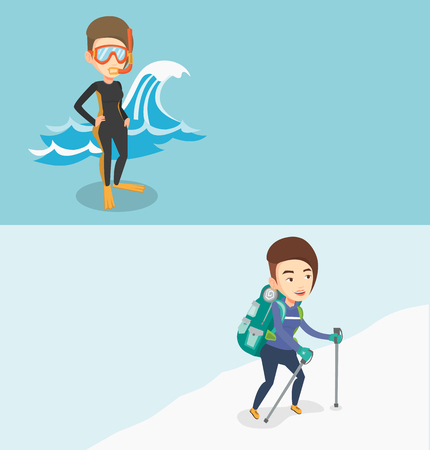 Two travel banners with space for text. Vector flat design. Horizontal layout. Mountaineer climbing a snowy ridge. Mountaineer climbing a mountain. Mountaineer with backpack walking up along a ridge. Illustration