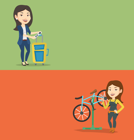 Two transportation banners with space for text. Vector flat design. Horizontal layout. Woman showing travel insurance tag. Business class passenger standing near suitcase with priority luggage tag.