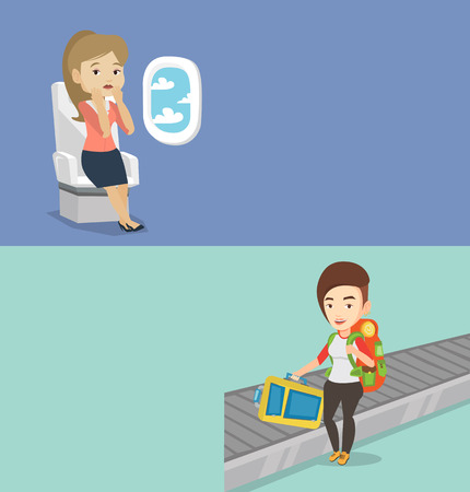 terrified: Two transportation banners with space for text. Vector flat design. Horizontal layout. Terrified airplane passenger shocked by plane flight in a turbulent area. Airplane passenger frightened by flight