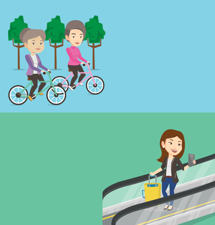 Two transportation banners with space for text. Vector flat design. Horizontal layout. Woman using smartphone on escalator in airport. Woman standing on escalator in airport and using mobile phone. Ilustração