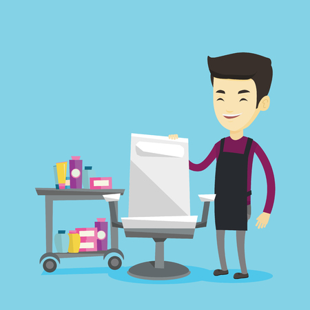 Young asian male barber standing near armchair and table with cosmetics in barber shop. Professional male barber standing at workplace in barber shop. Vector flat design illustration. Square layout. Illustration