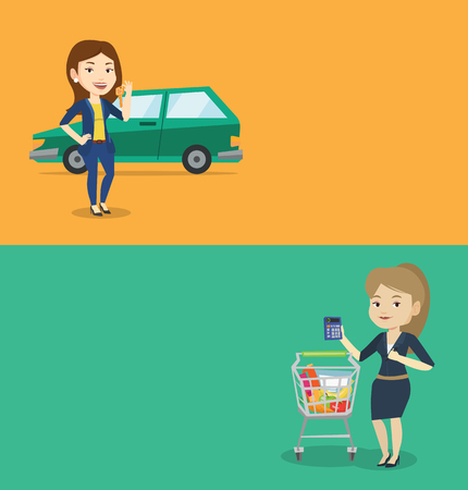 Two shopping banners with space for text. Vector flat design. Horizontal layout. Caucasian woman counting on calculator in supermarket. Young woman checking prices on calculator in supermarket.