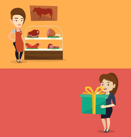 Two shopping banners with space for text. Vector flat design. Horizontal layout. Caucasian female butcher offering meat. Friendly female butcher standing on the background of storefront with meat.