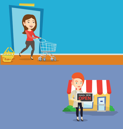 Two shopping banners with space for text. Vector flat design. Horizontal layout. Shop owner holding open signboard. Cheerful shop owner standing in front of small store. Shop owner inviting to come.