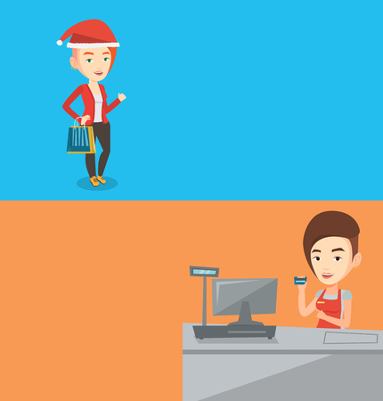 Two shopping banners with space for text. Vector flat design. Horizontal layout. Cashier holding credit card at the checkout in supermarket. Caucasian cashier working at the checkout in a supermarket. Illustration