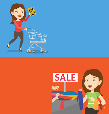 choosing clothes: Two shopping banners with space for text. Vector flat design. Horizontal layout. Woman choosing clothes in shop on sale. Woman buying clothes at store on sale. Woman shopping in clothes shop on sale. Illustration