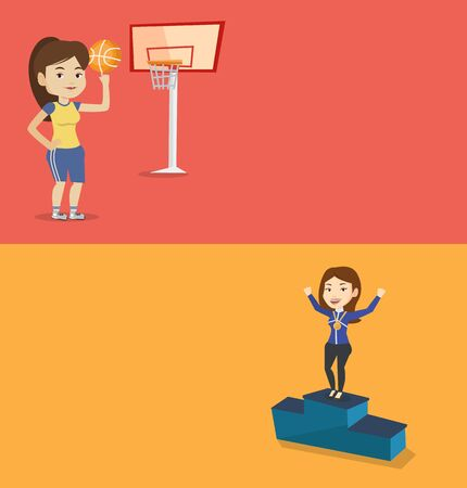 Two sport banners with space for text. Vector flat design. Horizontal layout. Sportswoman with gold medal and raised hands standing on the winners podium. Woman celebrating on the winners podium. Ilustrace