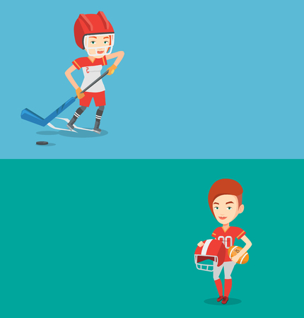 Two sport banners with space for text. Vector flat design. Horizontal layout. Sportswoman playing ice hockey. Ice hockey player in uniform skating on a rink. Ice hockey player with a stick and puck. Illustration