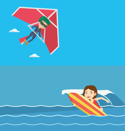 Two sport banners with space for text. Vector flat design. Horizontal layout. Caucasian woman flying on hang-glider. Sportswoman taking part in hang gliding competitions. Woman gliding on delta-plane.