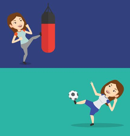 Two sport banners with space for text. Vector flat design. Horizontal layout. Caucasian boxer exercising with boxing bag. Boxer hitting heavy bag during training. Boxer training with the punch bag.