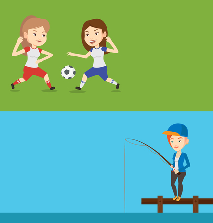 Two sport banners with space for text. Vector flat design. Horizontal layout. Young fisherwoman fishing on the lake. Woman relaxing during fishing on jetty. Angler standing on jetty with fishing rod.