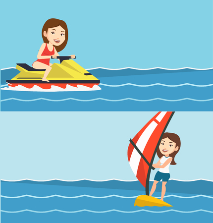 Two sport banners with space for text. Vector flat design. Horizontal layout. Caucasian cheerful woman on water scooter in the sea at summer sunny day. Young smiling woman riding on a water scooter. Illustration