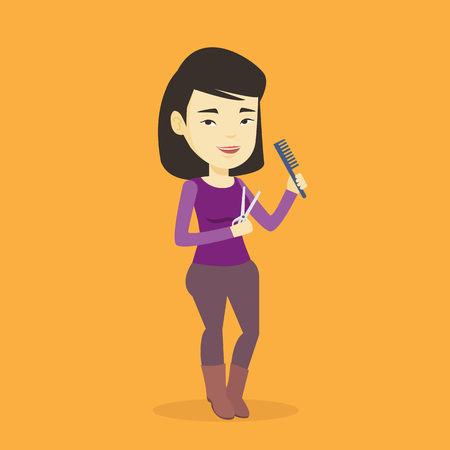Full length of young female hair stylist holding comb and scissors in hands. Professional asian female hair stylist ready to do a haircut. Vector flat design illustration. Square layout.