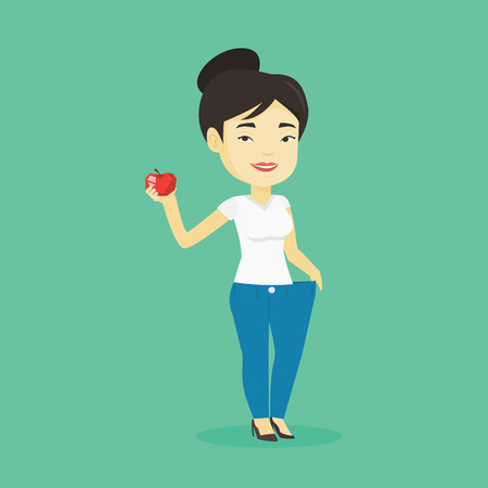 Young happy asian woman on a diet. Slim smiling woman in oversized pants showing the results of her diet. Concept of dieting and healthy lifestyle. Vector flat design illustration. Square layout.