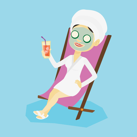 Happy woman with face mask and towel on her head lying in chaise lounge in beauty salon. Woman relaxing in beauty salon. Girl having beauty treatments. Vector flat design illustration. Square layout.