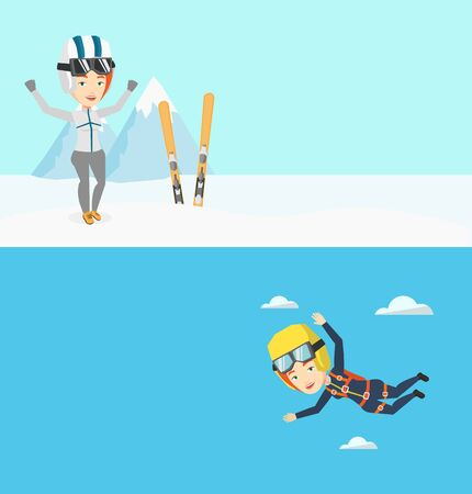 Two sport banners with space for text. Vector flat design. Horizontal layout. Young caucasian parachutist jumping with parachute. Professional female parachutist flying with parachute in clouds. Illustration