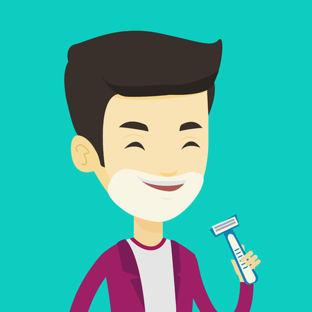 shaver: Man shaving his face. Smiling man with shaving cream on his face and razor in hand. Young man prepping face for daily shaving. Concept of daily hygiene. Vector flat design illustration. Square layout. Illustration