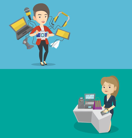 wireless terminals: Two technology banners with space for text. Vector flat design. Horizontal layout. Woman paying wireless with smart watch at the checkout counter. Customer making payment for purchase with smart watch