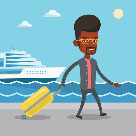 cruise liner: African-american man is going to voyage on cruise liner. Man walking on the background of cruise liner. Passenger of cruise liner walking on the pier. Vector flat design illustration. Square layout.