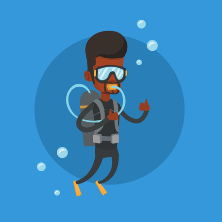 African-american man diving with scuba and showing thumb up. Young man in diving suit snorkeling and giving thumb up. Man enjoying the dive. Vector flat design illustration. Square layout.