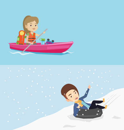 Two travel banners with space for text. Vector flat design. Horizontal layout. Young caucasian woman having fun while sledding on snow rubber tube in mountains. Woman riding on snow rubber tube.