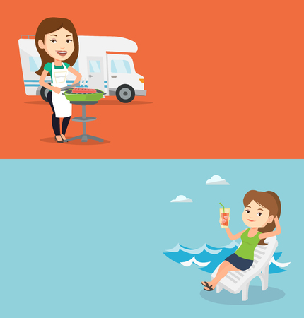 Two travel banners with space for text. Vector flat design. Horizontal layout. Caucasian woman cooking steak on the barbecue grill on the background of camper van. Young woman travelling by camper van Illustration