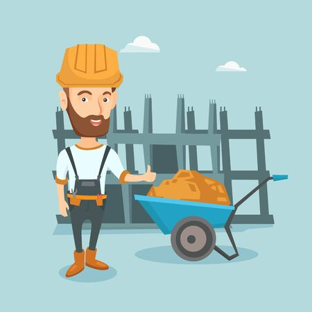 Builder giving thumb up vector illustration. Ilustrace