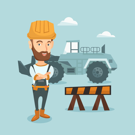 confident: Confident builder with arms crossed.