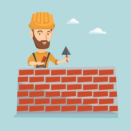 Bricklayer working with spatula and brick. Imagens - 71095496
