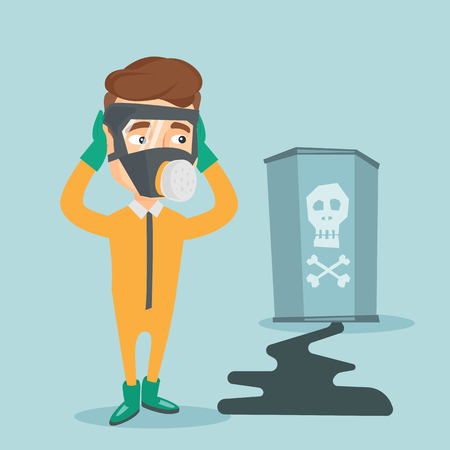Concerned man in radiation protective suit. Illustration