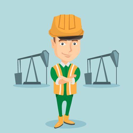 confident: Confident oil worker vector illustration.