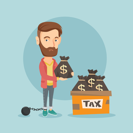 Geketend belastingbetaler met tassen vol van de belastingen.
